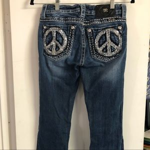 Miss Me Peace Sign Jeans